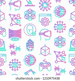 Cyber technology seamless pattern with thin line icons: ai, virtual reality glasses, bionics, robotics, global network, computer game, microprocessor, nano robots, electronic eye. Vector illustration.