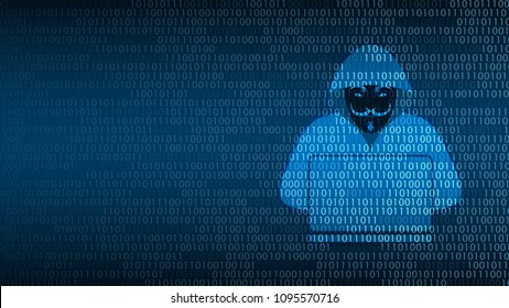 Cyber technology security, Hacker on digital screen, network protection background design, vector illustration