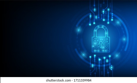 Cyber technology security, network protection background design, vector illustration