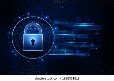 Cyber technology security, network protection background design. Personal data security, encryption. Cyber data.Information privacy idea. Digital secure.Safety access. Safe internet. Vector banner.