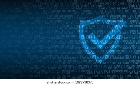 Cyber technology security, Shield on digital screen, network protection background design, vector illustration