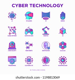 Cyber technology thin line icons set: ai, virtual reality glasses, bionics, robotics, global network, computer game, microprocessor, nano robots, blockchain, electronic eye. Vector illustration.