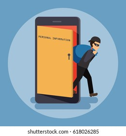 Cyber thief, hacker, get out of the door with a bag of personal information on smartphone. Cyber security and crime concept. Vector illustration of flat design people cartoon character.