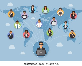 Cyber thief, hacker, hacking personal information from business people around the world. Cyber security and crime concept. Vector illustration of flat design people cartoon character.