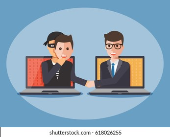 Cyber thief, hacker, wearing a man mask and shaking hand with businessman on computer laptop. Cyber security and crime concept. Vector illustration of flat design people cartoon character.