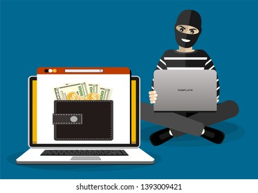 Cyber thief, internet scammer. Thief steals money from online wallet, credit card. Poster for web page, banner, presentation, social media. Flat design vector illustration