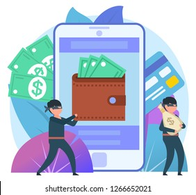 Cyber thieves, internet scammers. Two thieves steal money from online wallet, credit card. Poster for web page, banner, presentation, social media. Flat design vector illustration
