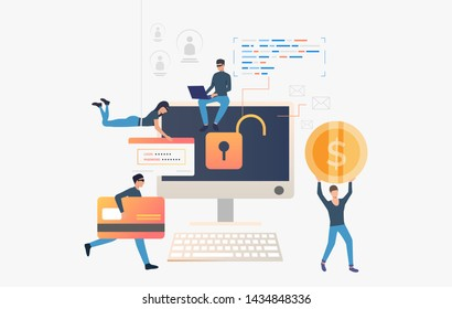 Cyber thieves robbing computer bank data. Cartoon hackers carrying credit card, password and money. Hacker attack concept. Vector illustration can be used for cybercrime, breach, hacker identity