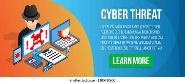 Cyber threat concept banner. Isometric banner of cyber threat vector concept for web, giftcard and postcard