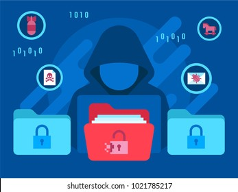 Cyber threats security concept with hacker computer technology