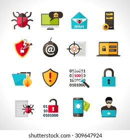 Cyber virus hacking protection and security icons set isolated vector illustration