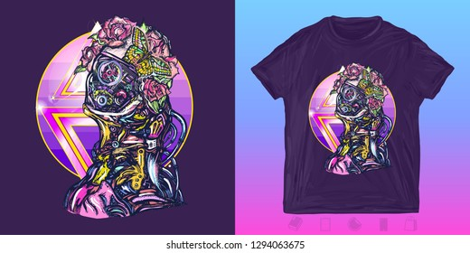 Cyber woman. Cyberpunk print for t-shirts and another, trendy apparel design. Portrait of biomechanical girl