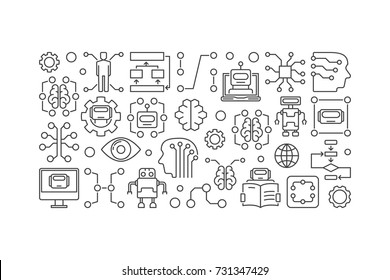 Cyberbrain and artificial intelligence vector banner or illustration in thin line style on white background