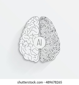 Cyberbrain concept. Outline top view illustration of a circuit board with a brain. Artificial intelligence icon