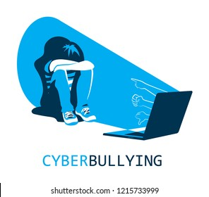 Cyberbullying concept, sad teenager in front of laptop, flat vector illustration