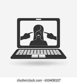 cyberbullying concept. upset girl victim of online harassment. vector illustration - eps 10