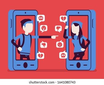 Cyberbullying, teenagers smartphone bullying, harmful gadget harassment. Hating, drama, gossip or trolling via cellphone, text messages in chat, mean comments. Vector illustration, faceless characters