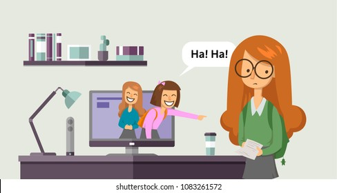 Cyberbullying, trolling. Teenage girls laughing and pointing at another girl from computer screen. Concept vector illustration. Flat style. Horizontal.