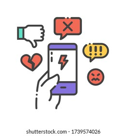 Cyberbullying victim hand holding smartphone. Abuse, internet, hate concept. Social media insult. Sign for web page, mobile app, button, logo. Editable stroke