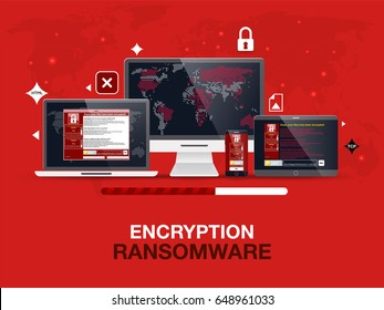 Cybercrime and cyber security concept, Wanna Cry virus attack on computer, notebook and smartphone.