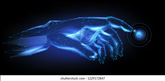 Cybernetic 3D hand presses a button in virtual reality. Low-poly style  hand touches the touch button. Neon futuristic hand points with a finger (illustration in polygonal style).