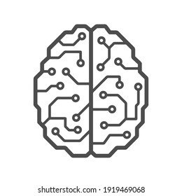 Cybernetic brain microchip logo. Artificial intelligence emblem. Digital electronic robot brain.