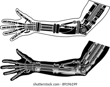 cybernetic hand with stencil. second variant. vector illustration