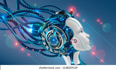 Cybernetic head  of robot woman close-up with artificial intelligence connected from cable. Face profile of female cyborg looks at up. sci-fi futuristic vector illustration concept.
