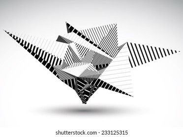 Cybernetic polygonal contrast element constructed from simple geometric figures. Misshapen lined acute object for graphic design. Black and white stencil model.