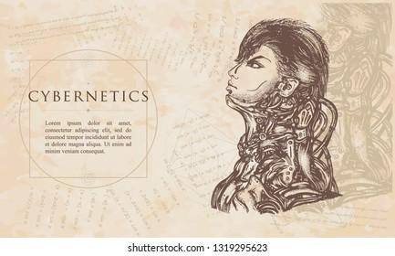 Cybernetics. Robot man. Portrait of biomechanical soldier. Renaissance background. Medieval manuscript, engraving art