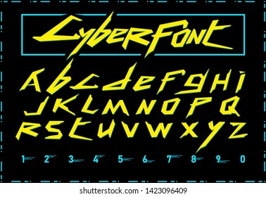 Cyberpunk 2077 font. Vector cyberfont. Perfect for video game design.