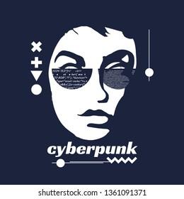 Cyberpunk art poster. Cyber woman futuristic sci-fi concept