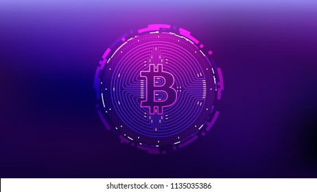 Cyberpunk Bitcoin Futuristic Sci-Fi Technology Cryptocurrency Textured Coin Hi-Tech Illustration. Isolated on Blue Mesh Background