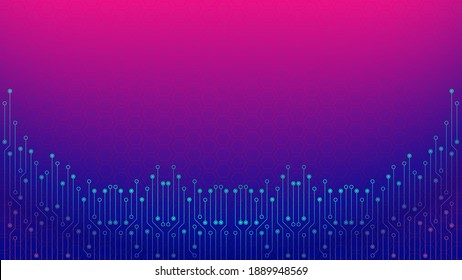 Cyberpunk Circuit Board Background Design Template. Abstract Technology Vector Illustration with Hexagon Texture. Sci-Fi PCB Trace Data Transfer Design Concept. Blue Pink Gradient
