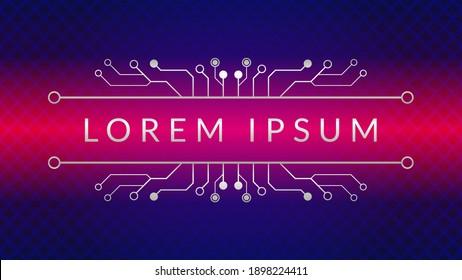Cyberpunk Circuit With Diamond Geometric Pattern. Metallic Electronic Tree Vector Illustration. Dystopian. Sci-Fi. Abstract Background Design Template. Dark Blue Pink Magenta Gradient Color Theme