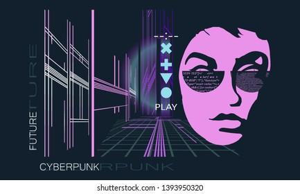 Cyberpunk. Dark future art. Futuristic night city. Game art concept