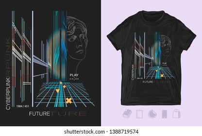 Cyberpunk. Dark future. Futuristic night city. Game art. Print for t-shirts and another, trendy apparel design