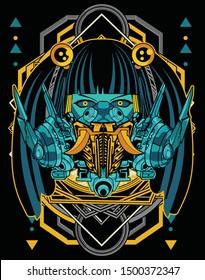 cyberpunk horror anime girl robot tshirt design