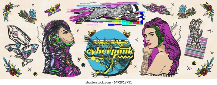 Cyberpunk. Old school tattoo vector collection. Cyborg, robot girl, web camera and running cheetah, glitch style. Dark future art. Traditional tattooing style