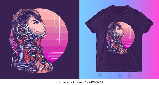Cyberpunk. Robot man in headphones listening to music. Print for t-shirts and another, trendy apparel design. Portrait of biomechanical soldier, people of future, synthwave, vaporwave art