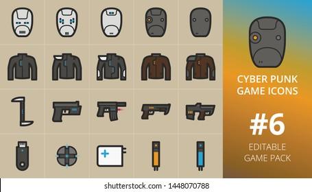 Cyberpunk RPG game icons set.  Set of Cyberpunk armor and weapons, pistol, shotgun, machine gun, grenade, bio stimulant. Editable 2D RPG game items graphics pack