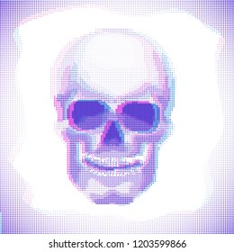 Cyberpunk Skull Anaglyph effect vector halftone image