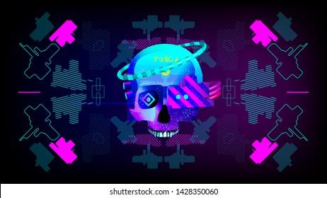 cyberpunk skull with implants in a stylized cyberpunk interface