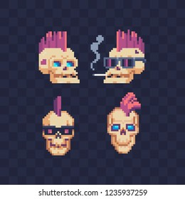Cyberpunk style skulls pixel art icons, skull with pink hair with a smoking cigarette and glasses isolated vector illustration. Design for logo, sticker and app.