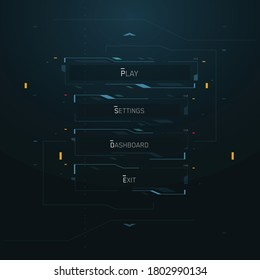 Cyberpunk Style Vector Futuristic Game UI Main Menu FUI Interface