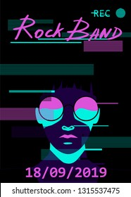 Cyberpunk synthwave style poster template with glitch art effect for music event, party invitation. Cartoon fashion gothic decadent woman wearing big grotesque sunglasses.