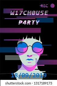 Cyberpunk/ synthwave style poster template with glitch art effect for music event, party invitation. Cartoon gothic decadent woman wearing sunglasses and hat.