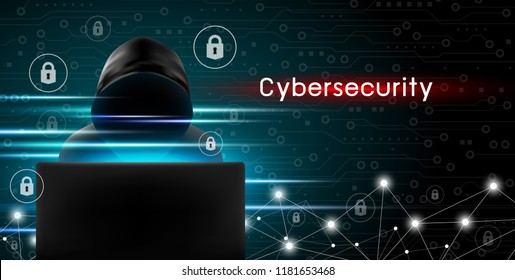 Cybersecurity concept of Hacker using computer with key icon and technology background design