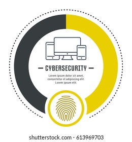 Cybersecurity concept. Symbols isolated on background. Web banner, vector label or emblem.