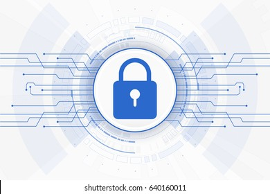 Cybersecurity. design of internet network locking blue color on white background.vector illustration